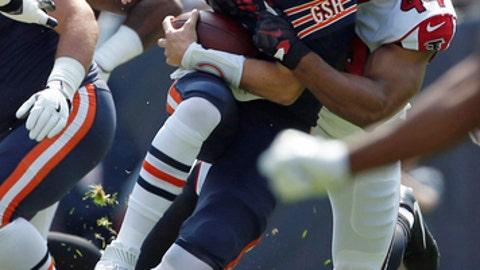 Chicago Bears quarterback Mike Glennon (8) is sacked by Atlanta Falcons linebacker Vic Beasley (44) during the first half of an NFL football game, Sunday, Sept. 10, 2017, in Chicago. (AP Photo/Nam Y. Huh)