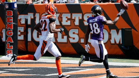 Baltimore Ravens wide receiver Jeremy Maclin (18) runs in a touchdown against Cincinnati Bengals cornerback William Jackson (22) in the first half of an NFL football game, Sunday, Sept. 10, 2017, in Cincinnati. (AP Photo/Frank Victores)