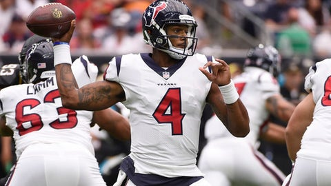Houston Texans quarterback Deshaun Watson (4) throws against the Jacksonville Jaguars during the second half of an NFL football game Sunday, Sept. 10, 2017, in Houston. (AP Photo/Eric Christian Smith)