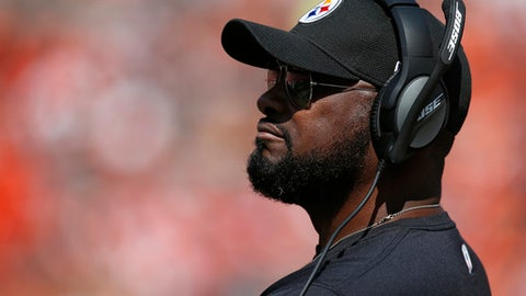 Pittsburgh Steelers head coach Mike Tomlin watches the second half of an NFL football game against the Cleveland Browns, Sunday, Sept. 10, 2017, in Cleveland. (AP Photo/Ron Schwane)
