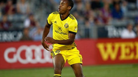 Columbus Crew forward Ola Kamara (11) in the second half of an MLS soccer game Saturday, June 3, 2017, in Commerce City, Colo. The Rapids won 2-1. (AP Photo/David Zalubowski)