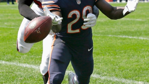 Atlanta Falcons linebacker De'Vondre Campbell (59) breaks up a pass intended for Chicago Bears running back Tarik Cohen (29) in the end zone during the second half of an NFL football game, Sunday, Sept. 10, 2017, in Chicago. (AP Photo/Michael Conroy)