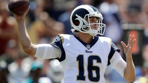 Los Angeles Rams quarterback Jared Goff passes against the Indianapolis Colts during the first half of an NFL football game Sunday, Sept. 10, 2017, in Los Angeles. (AP Photo/Jae C. Hong)