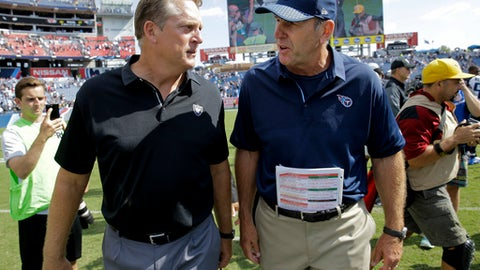 Oakland Raiders head coach Jack Del Rio, left, and Tennessee Titans head coach Mike Mularkey talk after an NFL football game Sunday, Sept. 10, 2017, in Nashville, Tenn. The Raiders won 26-16.(AP Photo/James Kenney)