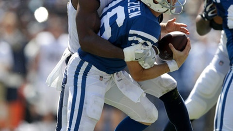 Indianapolis Colts quarterback Scott Tolzien, right, is sacked by Los Angeles Rams linebacker Robert Quinn during the first half of an NFL football game Sunday, Sept. 10, 2017, in Los Angeles. (AP Photo/Jae C. Hong)