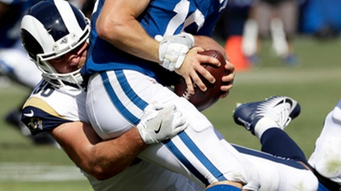 Indianapolis Colts quarterback Scott Tolzien (16) is sacked by Los Angeles Rams linebacker Matt Longacre during the second half of an NFL football game Sunday, Sept. 10, 2017, in Los Angeles. (AP Photo/Alex Gallardo)