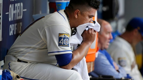 Seattle Mariners starting pitcher Erasmo Ramirez sits in the dugout after he was pulled in the seventh inning of a baseball game against the Los Angeles Angels, Sunday, Sept. 10, 2017, in Seattle. (AP Photo/Ted S. Warren)