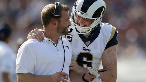 Los Angeles Rams head coach Sean McVay, left, talks with quarterback Jared Goff during the second half of an NFL football game against the Indianapolis Colts, Sunday, Sept. 10, 2017, in Los Angeles. (AP Photo/Jae C. Hong)