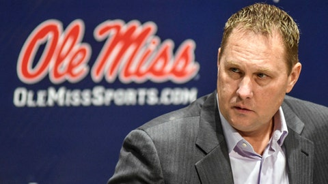 FILE - This Dec. 16, 2016, file photo, then-Mississippi NCAA college head football coach Hugh freeze speaking during a news conference at the Manning Center in Oxford, Miss. Mississippi's football program will begin its appearance in front of the NCAA's infractions committee panel, nearly five years after the governing body first launched its investigation. The hearing starts Monday in Covington, Kentucky, which is a suburb of Cincinnati. The Rebels are facing 21 allegations, including 15 that are classified as Level I, which the NCAA deems the most serious. (Bruce Newman/Oxford Eagle via AP, File)