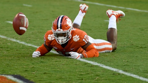 FILE - In this Sept. 9, 2017, file photo, Clemson defensive back K'Von Wallace (12) reacts after failing to make an interception during the first half of an NCAA college football game, in Clemson, S.C. A team that averaged 40 points a game last season managed just two touchdowns at home last week. (AP Photo/Rainier Ehrhardt, File)