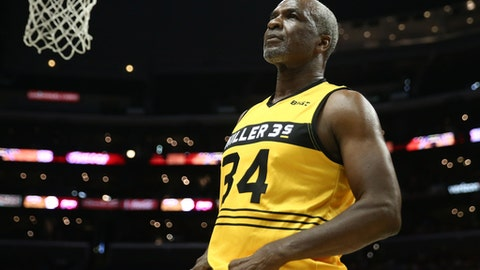 LOS ANGELES, CA - AUGUST 13:  Charles Oakley #34 of the Killer 3s stands on the court during week eight of the BIG3 three on three basketball league at Staples Center on August 13, 2017 in Los Angeles, California.  (Photo by Sean M. Haffey/BIG3/Getty Images)