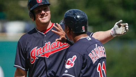 Cleveland Indians' Jay Bruce celebrates with Jose Ramirez (11) after hitting a three-run home run off Detroit Tigers starting pitcher Buck Farmer during the first inning in a baseball game, Wednesday, Sept. 13, 2017, in Cleveland. (AP Photo/Ron Schwane)