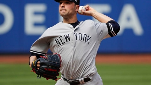 New York Yankees' Jaime Garcia delivers a pitch during the first inning of a baseball game against the Tampa Bay Rays, Wednesday, Sept. 13, 2017, in New York. (AP Photo/Frank Franklin II)