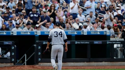 New York Yankees starting pitcher Jaime Garcia (34) leaves the game during the fifth inning of a baseball game against the Tampa Bay Rays Wednesday, Sept. 13, 2017, in New York. (AP Photo/Frank Franklin II)