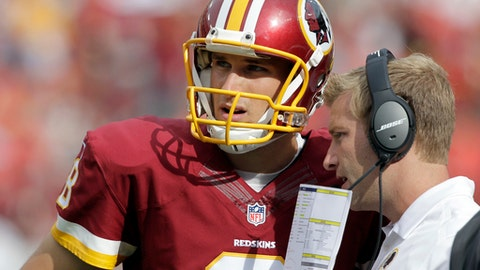 FILE - In this Sunday, Sept. 14, 2014 file photo, Washington Redskins quarterback Kirk Cousins (8) listens to offensive coordinator Sean McVay, during the second half of an NFL football game against the Jacksonville Jaguars in Landover, Md. Redskins quarterback Kirk Cousins will try to rebound from a rough season opener against Sean McVay, his former offensive coordinator who knows him better than most people in the NFL. Cousins on Sunday, Sept. 17, 2017 will face former offensive coordinator Sean McVay's Los Angeles Rams as the Redskins hope to avoid starting 0-2.  (AP Photo/Mark E. Tenally, File)