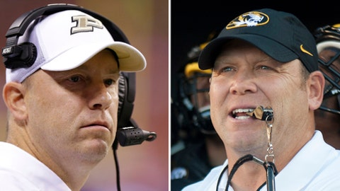 FILE - At left is a 2017 file photo showing Purdue NCAA college football coach Jeff Brohm. At right is a 2016 file photo showing Missouri coach Barry Odom. The Boilermakers take to the road for the first time against Missouri, Purdue's first game against a Southeastern Conference foe since 2004. (AP Photo/File)