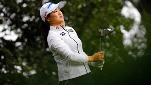 So Yeon Ryu of South Korea follows the flight of her ball after playing on the 10th hole during the first round of the Evian Championship women's golf tournament in Evian eastern France Thursday Sept. 14 2017