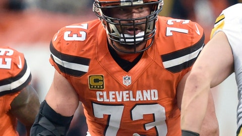 FILE - In this Nov. 20, 2016, file photo, Cleveland Browns' Joe Thomas (73) blocks during an NFL football game against the Pittsburgh Steelers in Cleveland.  For more than 10 seasons, most of them miserable, left tackle Joe Thomas hasn't missed a single play for the Cleveland Browns. On Sunday, Sept. 17, 2017, in Baltimore, he'll reach 10,000 consecutive snaps, a testament to his durability and a mark that the 32-year-old Thomas has embraced on his way to one day being immortalized in the Hall of Fame. (AP Photo/David Richard, File)