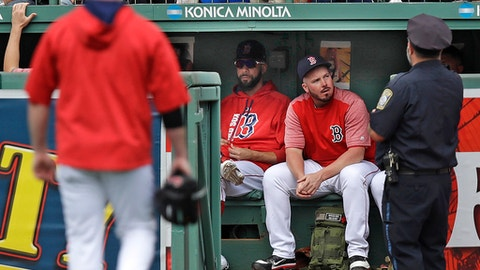 Boston Red Sox pitcher David Price, left, sits with relief pitcher Austin Maddox in the bullpen during the sixth inning of a baseball game against the Oakland Athletics at Fenway Park in Boston, Thursday, Sept. 14, 2017. Price was activated from the disabled list prior to the game and expected to work as a relief pitcher. (AP Photo/Charles Krupa)