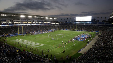 FILE - In this Aug. 13, 2017, file photo, the Los Angeles Chargers play the Seattle Seahawks at StubHub Center during the second half of an NFL preseason football game in Carson, Calif. The Chargers are playing their first regular-season game this week in the NFL's smallest home stadium against the Miami Dolphins, who are playing their first game of the season after their opener was postponed by Hurricane Irma. (AP Photo/Jae Hong, File)