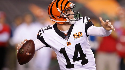 Cincinnati Bengals quarterback Andy Dalton prepares to throw the ball during the first half of an NFL football game against the Houston Texans, Thursday, Sept. 14, 2017, in Cincinnati. (AP Photo/Gary Landers)