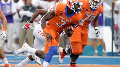 Boise State quarterback Montell Cozart (3) runs for a touchdown during the first half of an NCAA college football game against New Mexico in Boise, Idaho, on Thursday, Sept. 14, 2017. (AP Photo/Otto Kitsinger)