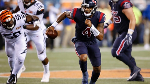 Houston Texans quarterback Deshaun Watson (4) runs the ball during the second half of an NFL football game against the Cincinnati Bengals, Thursday, Sept. 14, 2017, in Cincinnati. (AP Photo/Gary Landers)
