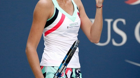 FILE - In this file photo dated Monday, Sept. 4, 2017, Karolina Pliskova, of the Czech Republic, reacts after beating Jennifer Brady, of the United States, during the fourth round of the U.S. Open tennis tournament in New York. Former world No. 1 Karolina Pliskova said Friday Sept. 15, 2017, that she has parted with coach David Kotyza. (AP Photo/Peter Morgan, FILE)