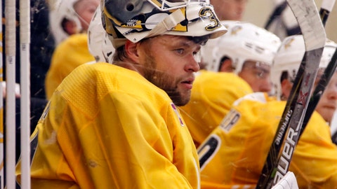 Pittsburgh Penguins goalie Antti Niemi watches a scrimmage during the NHL hockey team's first practice in Cranberry, Pa., Friday, Sept. 15, 2017. (AP Photo/Gene J. Puskar)