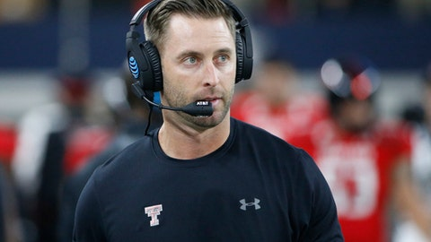 FILE - In this Nov. 25, 2016, file photo, Texas Tech head coach Kliff Kingsbury takes the field before an NCAA college football game against Baylor in Arlington, Texas. Texas Tech certainly hasn't forgotten Kalen Ballage, the Arizona State running back who tied an NCAA record by scoring eight touchdowns against the Red Raiders.  The two teams meet on Saturday. (AP Photo/Ron Jenkins, File)