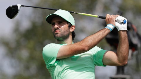 Joel Stalter of France tees off during the third round of the German Open golf tournament in Eichenried near Munich, Germany, Saturday, June 24, 2017. (AP Photo/Matthias Schrader)