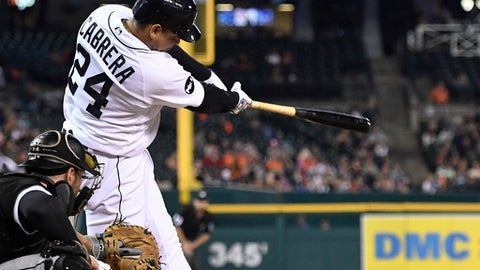 Detroit Tigers' Miguel Cabrera singles against the Chicago White Sox during the fourth inning of a baseball game, Friday, Sept. 15, 2017, in Detroit. (AP Photo/Jose Juarez)
