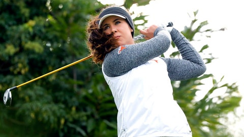 Sophia Schubert of USA, follows her ball after playing on the 14th hole during the second round of the Evian Championship women's golf tournament in Evian, eastern France, Saturday, Sept. 16, 2017. (AP Photo/Laurent Cipriani)