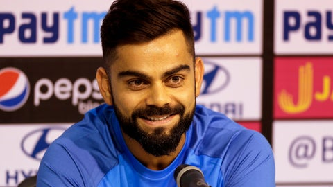Indian cricket team captain Virat Kohli smiles during press conference in Chennai, India, Saturday, Sept. 16, 2017. India and Australia will play their first one-day international on Sept. 17. (AP Photo/Rajanish Kakade)