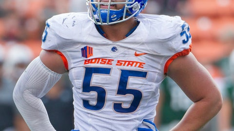 Boise State nose tackle David Moa (55) looks over to the sidelines in the third quarter of an NCAA college football game, Saturday, Nov. 12, 2016, in Honolulu. (AP Photo/Eugene Tanner)