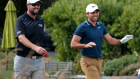 Marc Leishman, left, and Jason Day laugh as they walk to the fourth fairway during the third round of the BMW Championship golf tournament at Conway Farms Golf Club, Saturday, Sept. 16, 2017, in Lake Forest, Ill. (AP Photo/Charles Rex Arbogast)
