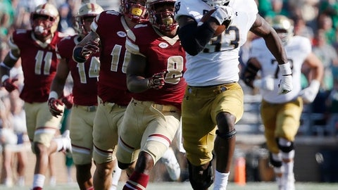 Notre Dame's Josh Adams (33) breaks away from Boston College's Will Harris (8)during the first half of an NCAA college football game in Boston, Saturday, Sept. 16, 2017. (AP Photo/Michael Dwyer)