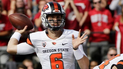 Oregon State quarterback Jake Luton (6) throws a pass during the first half of an NCAA college football game against Washington State in Pullman, Wash., Saturday, Sept. 16, 2017. (AP Photo/Young Kwak)