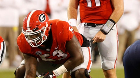 Georgia quarterback Jake Fromm (11) gets ready to run a play in the first half of an NCAA college football game against Samford in Athens, Ga., Saturday, Sept. 16, 2017. (Joshua L. Jones/Athens Banner-Herald via AP)