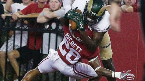 Colorado State wide receiver Warren Jackson scores a touchdown against Alabama defensive back Anthony Averett during the first half of an NCAA college football game, Saturday, Sept. 16, 2017, in Tuscaloosa, Ala. (AP Photo/Brynn Anderson)