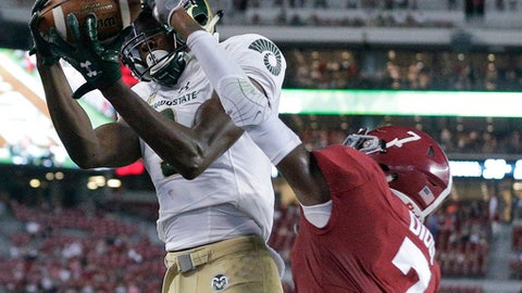 Colorado State wide receiver Warren Jackson catches the ball against Alabama defensive back Trevon Diggs during the second half of an NCAA college football game, Saturday, Sept. 16, 2017, in Tuscaloosa, Ala. Alabama won 41-23. (AP Photo/Brynn Anderson)