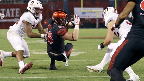 San Diego State tight end David Wells scores a touchdown during the second half of an NCAA college football game against Stanford Saturday, Sept. 16, 2017, in San Diego. (AP Photo/Gregory Bull)
