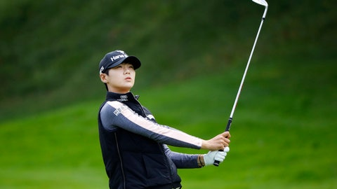 Sung Hyun Park, of South Korea, plays a shot on the 3rd hole during the final round of the Evian Championship women's golf tournament in Evian, eastern France, Sunday, Sept. 17, 2017. (AP Photo/Laurent Cipriani)