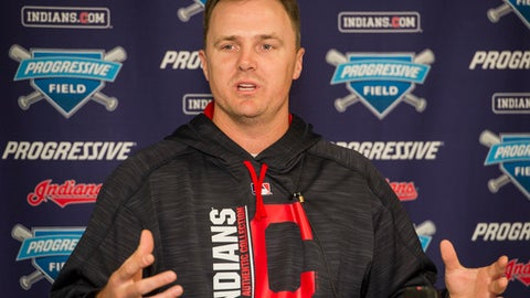 Cleveland Indians' Jay Bruce speaks during a press conference before a baseball game against the Kansas City Royals in Cleveland, Sunday, Sept. 17, 2017. Division champions for the second year in a row, the Indians wrap up the season's longest homestand _ and an historic week. (AP Photo/Phil Long)
