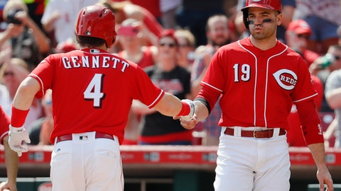 Cincinnati Reds' Scooter Gennett (4) celebrates with Joey Votto (19) after hitting a two-run home run off Pittsburgh Pirates starter Gerrit Cole in the sixth inning of a baseball game, Sunday, Sept. 17, 2017, in Cincinnati. (AP Photo/John Minchillo)