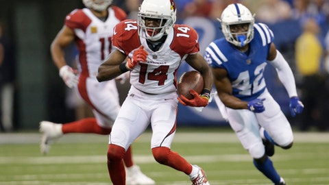 Arizona Cardinals' J.J. Nelson (14) is chased by Indianapolis Colts' Kenny Moore during the first half of an NFL football game, Sunday, Sept. 17, 2017, in Indianapolis. (AP Photo/AJ Mast)