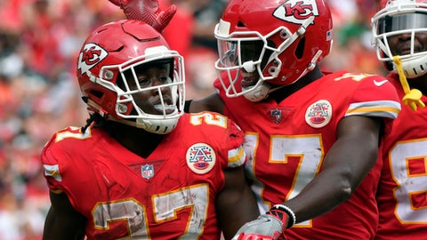 Kansas City Chiefs running back Kareem Hunt (27) is congratulated by wide receiver Chris Conley (17) after scoring a touchdown against the Philadelphia Eagles during the second half of an NFL football game in Kansas City, Mo., Sunday, Sept. 17, 2017. (AP Photo/Ed Zurga)