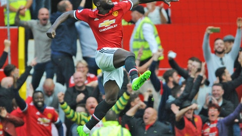 Manchester United's Romelu Lukaku celebrates after scoring during the English Premier League soccer match between Manchester United and Everton at Old Trafford in Manchester, England, Sunday, Sept. 17, 2017. (AP Photo/Rui Vieira)