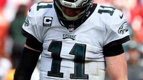 Philadelphia Eagles quarterback Carson Wentz (11) reacts after an incomplete pass during the second half of an NFL football game against the Kansas City Chiefs in Kansas City, Mo., Sunday, Sept. 17, 2017. (AP Photo/Ed Zurga)