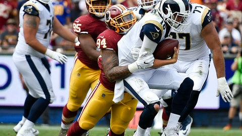 Los Angeles Rams quarterback Jared Goff, right, is sacked by Washington Redskins outside linebacker Preston Smith during the first half of an NFL football game Sunday, Sept. 17, 2017, in Los Angeles. (AP Photo/Kelvin Kuo)